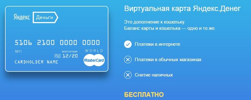 Яндекс Деньги: виртуальная карта